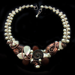 Swarovski White Pearl Copper Necklace*