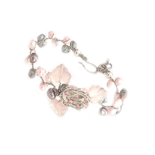 Pink and peacock fwp Bracelet