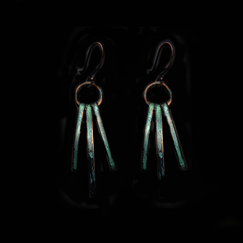 Green Patina Tri Sliver Copper Earrings