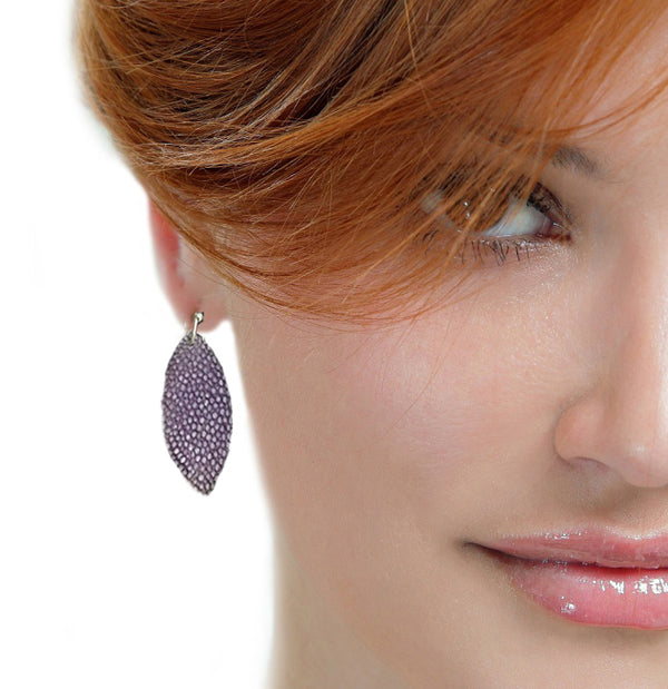 Purple Ellipse Fish Leather Earrings - Nurit Niskala