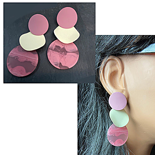 Pink Cream  three layers Earrings - Nurit Niskala
