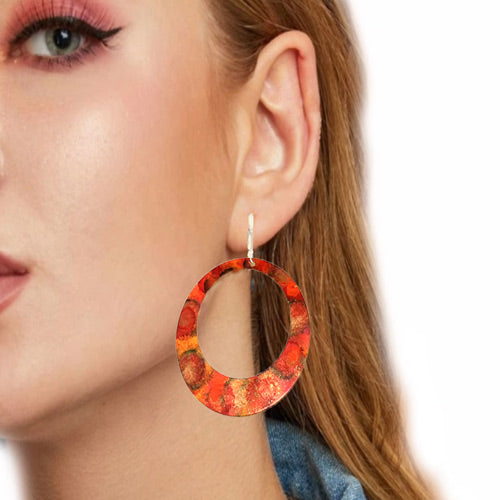 Enamel Paint Orange Earrings*