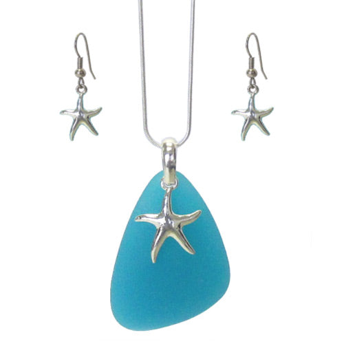 Starfish Seaglass Necklace+Earrings Set