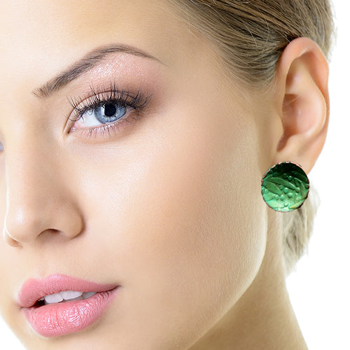 Tiny Green Circle Copper Earrings - Nurit Niskala