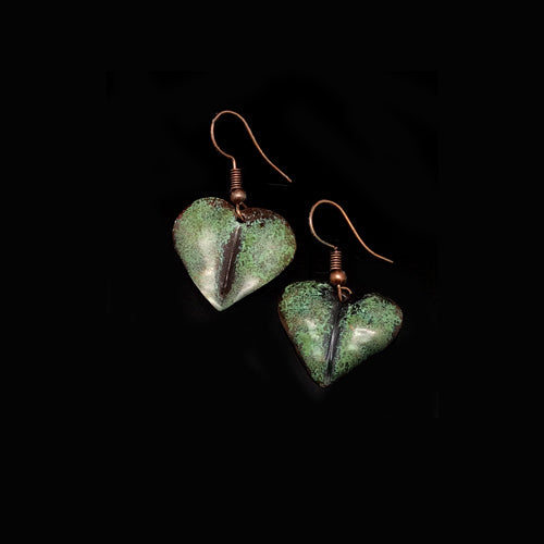 Little Sage Heart Copper Earrings - Nurit Niskala
