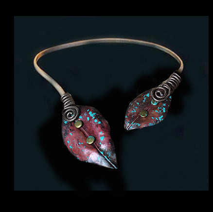 Copper Turquoise Brown Choker - Nurit Niskala