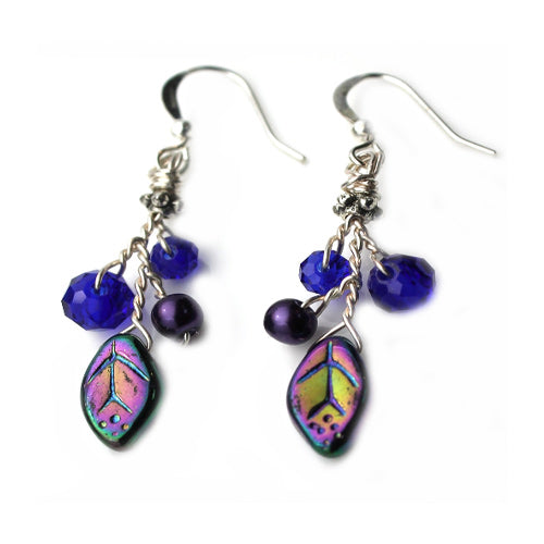 Purple Blue Dichroic Earrings - Nurit Niskala
