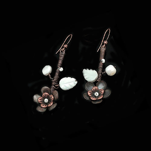 White Flowers Copper Earrings - Nurit Niskala