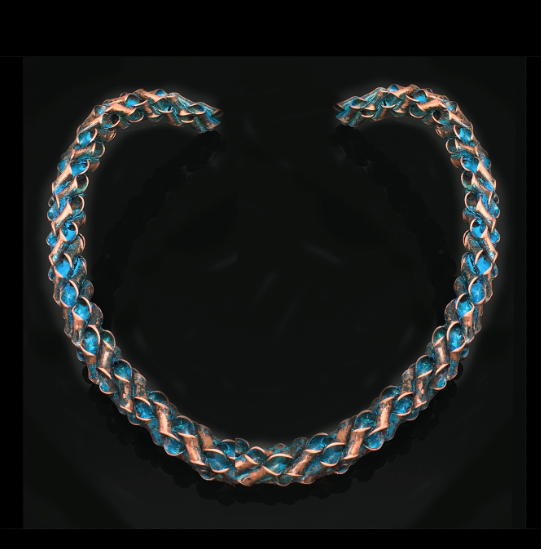 Teal/Blue Twisty Copper Choker*