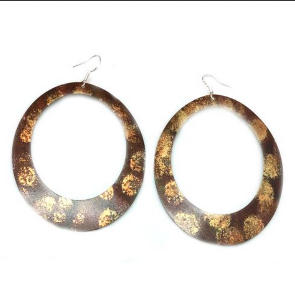 Enamel Paint Brown earrings