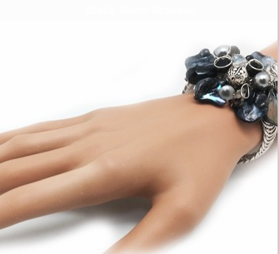 Adjutable Black Silver Bracelet - Nurit Niskala
