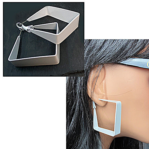White Square Earrings - Nurit Niskala