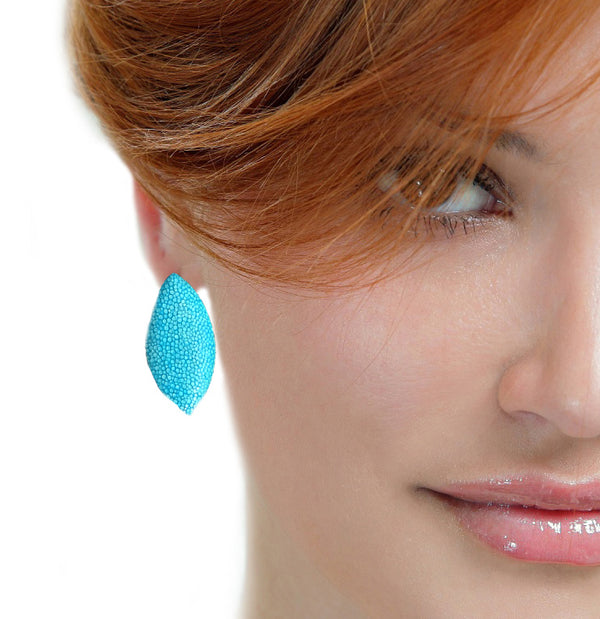 Turquoise Fish Leather Earrings - Nurit Niskala
