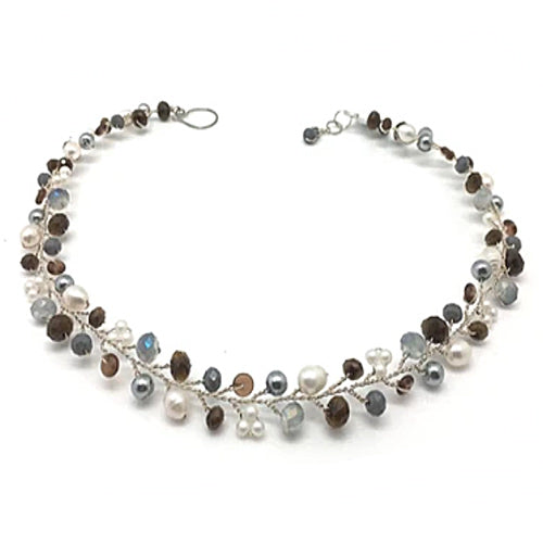 Grey Brown White Necklace - Nurit Niskala