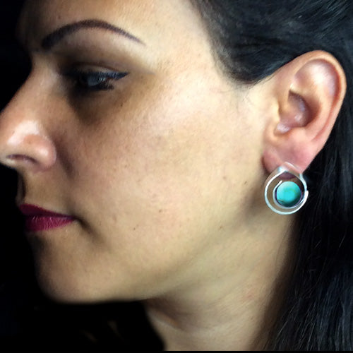 Silver Turquoise Stud Earrings*