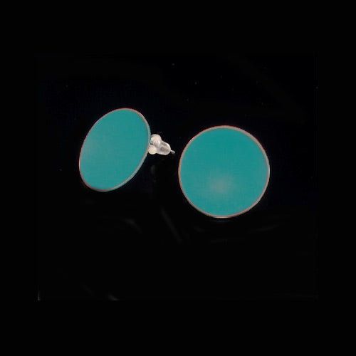 Dark Teal Circle Copper Earrings - Nurit Niskala