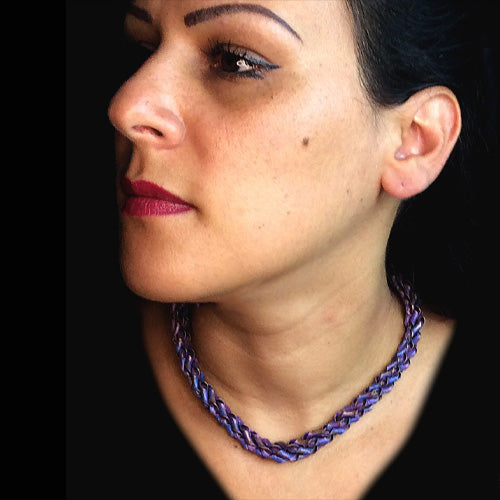 Purple V Twisty Copper Choker Design