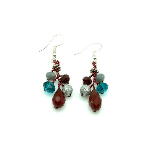 Aqua Red Grey Earrings