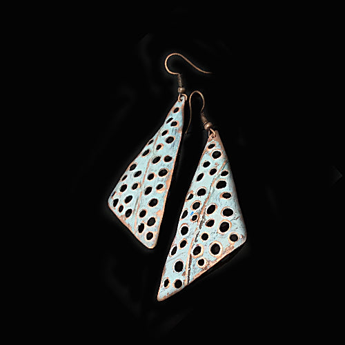 Geometric White Copper Earrings - Nurit Niskala