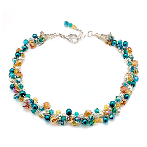 Teal, gold and silver crochet necklace