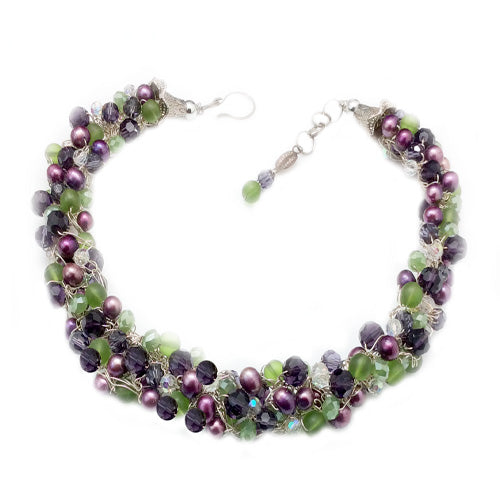 Green, Purple, Eggplant crochet necklace