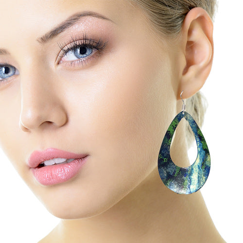 Enamel Paint Drop Green/Blue Earrings