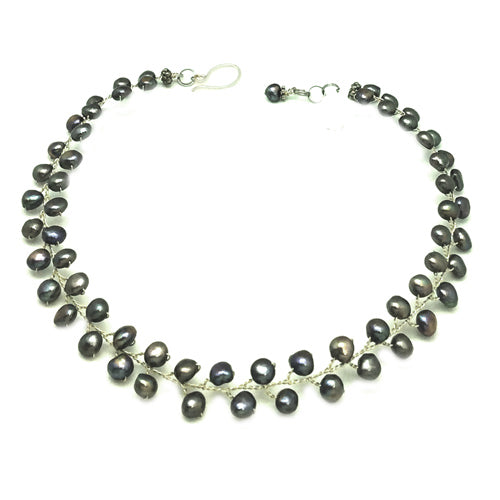 Peacock Freshwater Pearls U Necklace