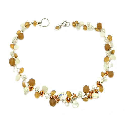 Amber White Flowers Necklace