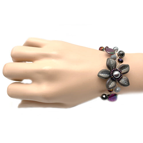 Burgundy Grey Flower Bracelet
