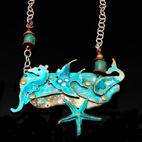 Seaglass Starfish Copper Necklace