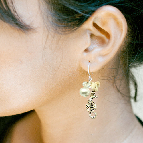 Beach Seahorse and Shell Earrings