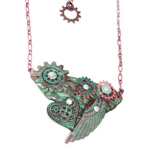 Steampunk Wing Copper Necklace *