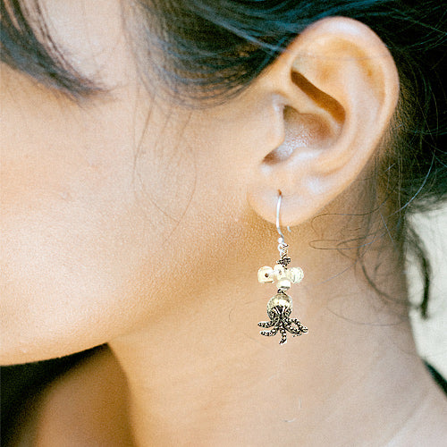 Octopus And Shell Earrings