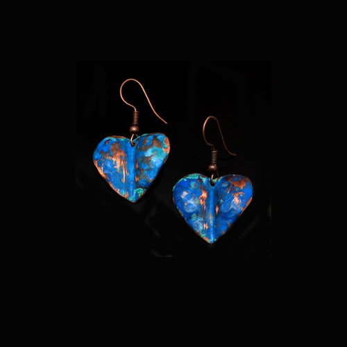 Small Blue Copper Heart Earrings - Nurit Niskala