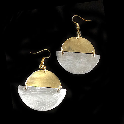 Half Circles Gold & Silver Earrings*
