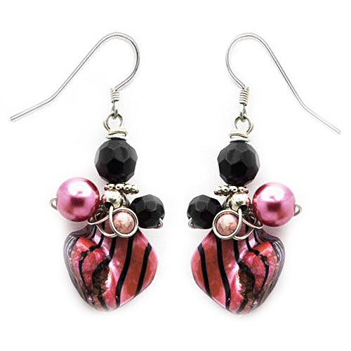 Magenta MOP Black Earrings - Nurit Niskala