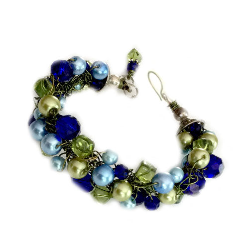 Blue Lime Pearl Weaving Bracelet