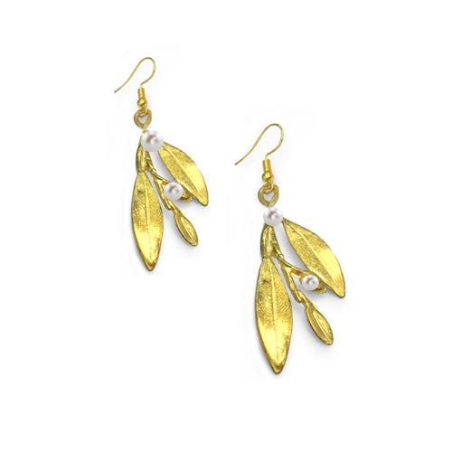 Bronze Pearl Leaves Earrings - Nurit Niskala