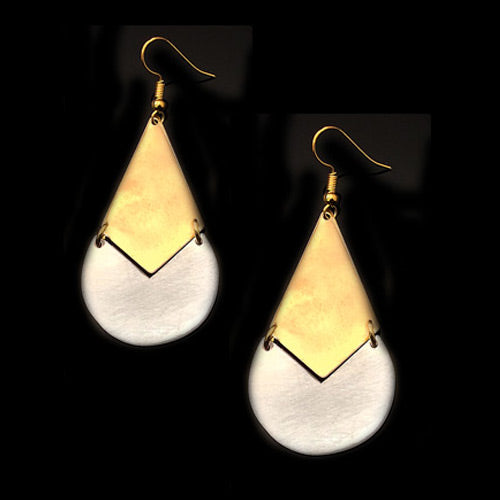 Gold-Silver Drop Earrings