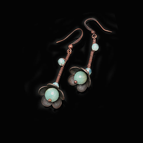 Aquamarine Copper Flowers Earrings - Nurit Niskala