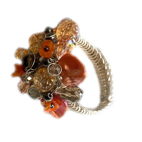 Orange Grey Adjustable Bracelet