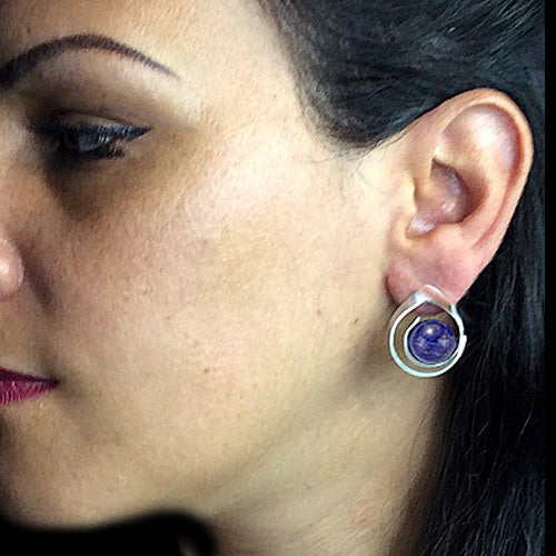 Silver Stud Lapis Earrings