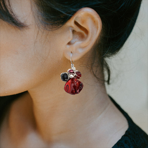 Deep Red Mother of Pearl Earrings*