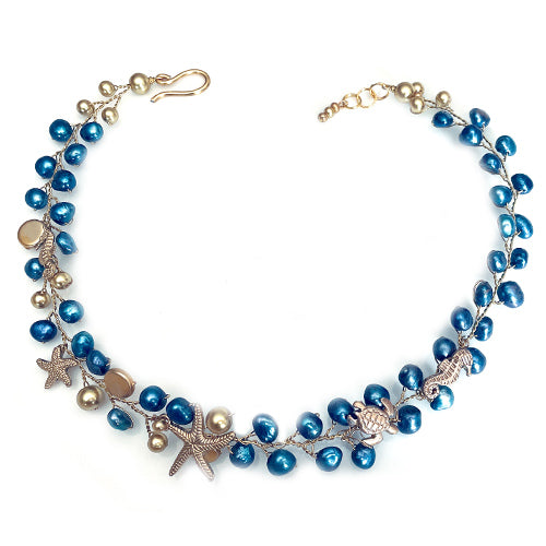 Gold Blue Freshwater Pearls Nautical Set