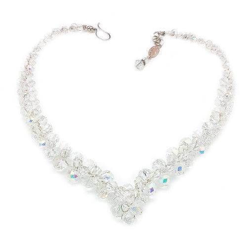Clear Crystal Crochet V Necklace*