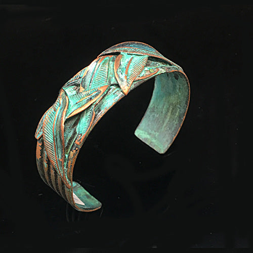 Green Patina Leaves Cuff - Nurit Niskala