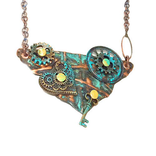Steampunk Heart Patina Copper Necklace *