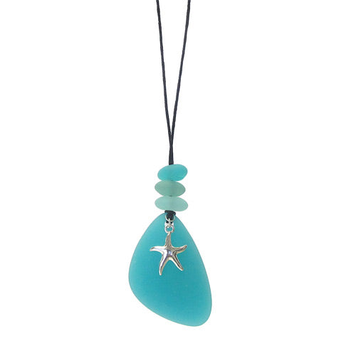 Starfish Blue Seaglass Necklace