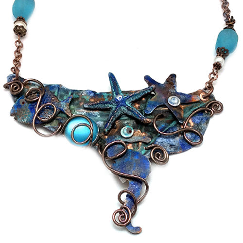 Sea Glass ,Seahorse Copper Necklace
