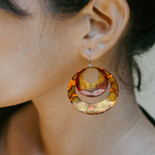 Enamel Paint orange & Burgundy Earrings